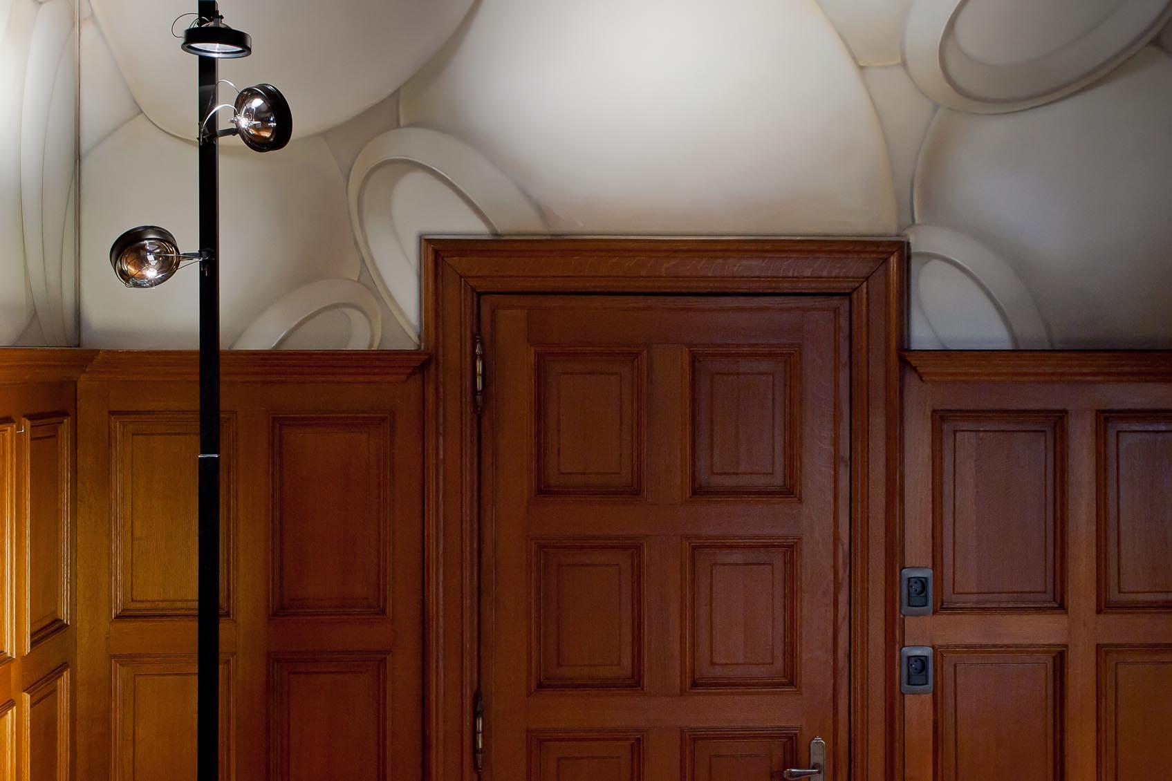 Technisch design wandlamp, Viabizzuno mosaico, indirecte basis TL verlichting met richtbare AR111 spot accenten