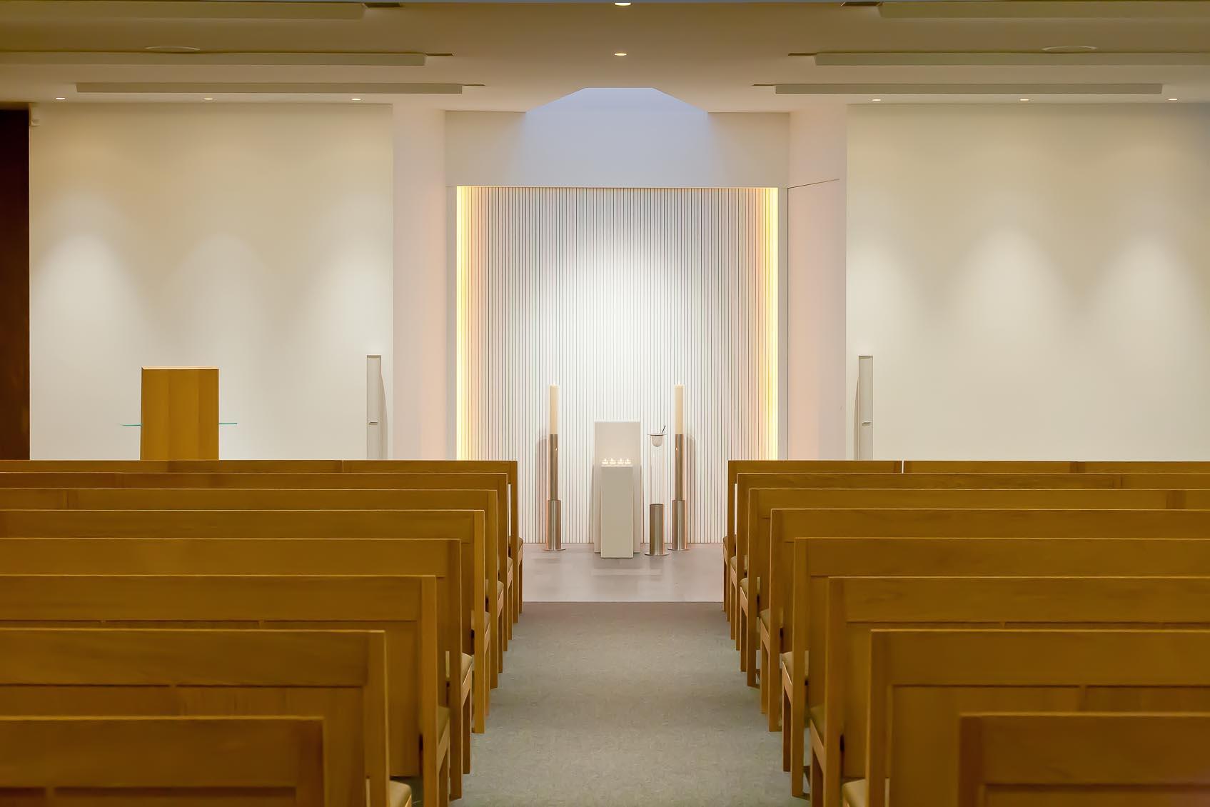 Lichthuis Mol maakt de lichtstudie voor de aula, koffieruimte en winkels van funerarium te Geel